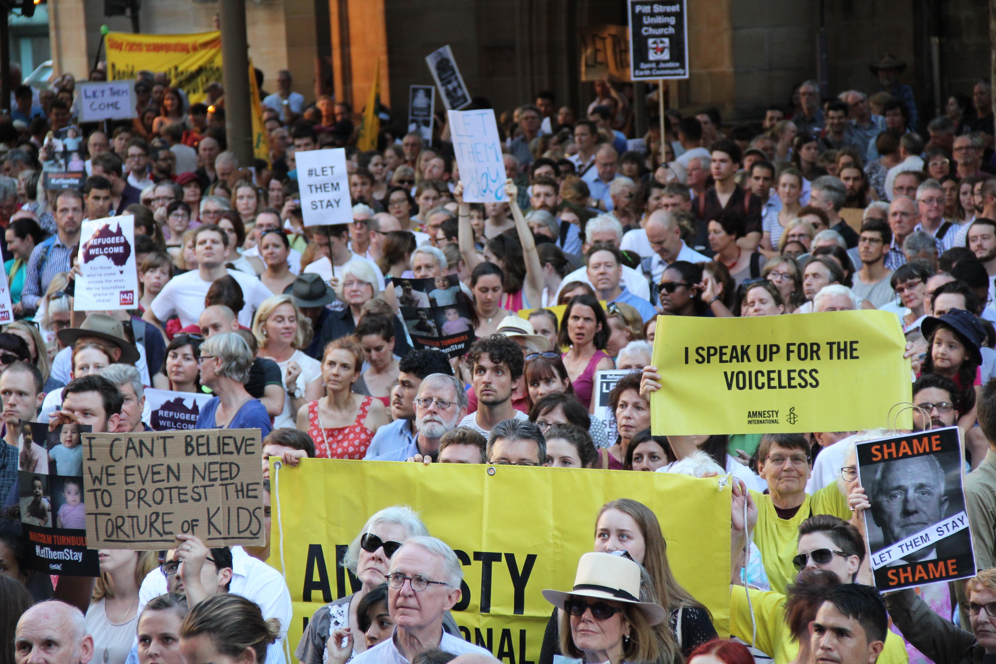 #LetThemStay refugee rally in Sydney in 2016