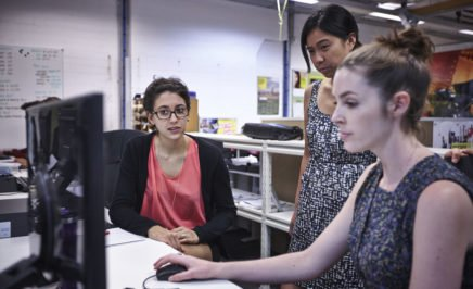 Activists undergo training at a computer
