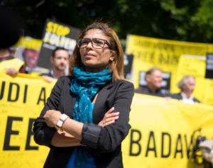 Raif Badawi's wife, Ensaf Haidar at a protest to free Raif