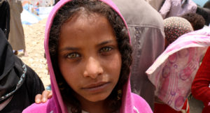 Young girl in an IDP camp