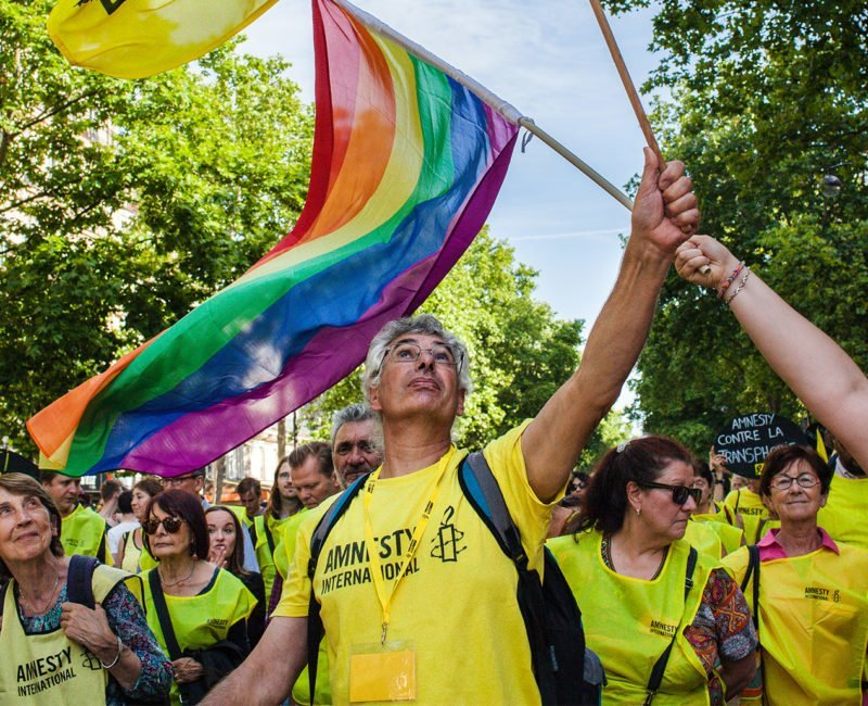 Amnesty International activists taking part in Gay Pride in Paris, June 2015.