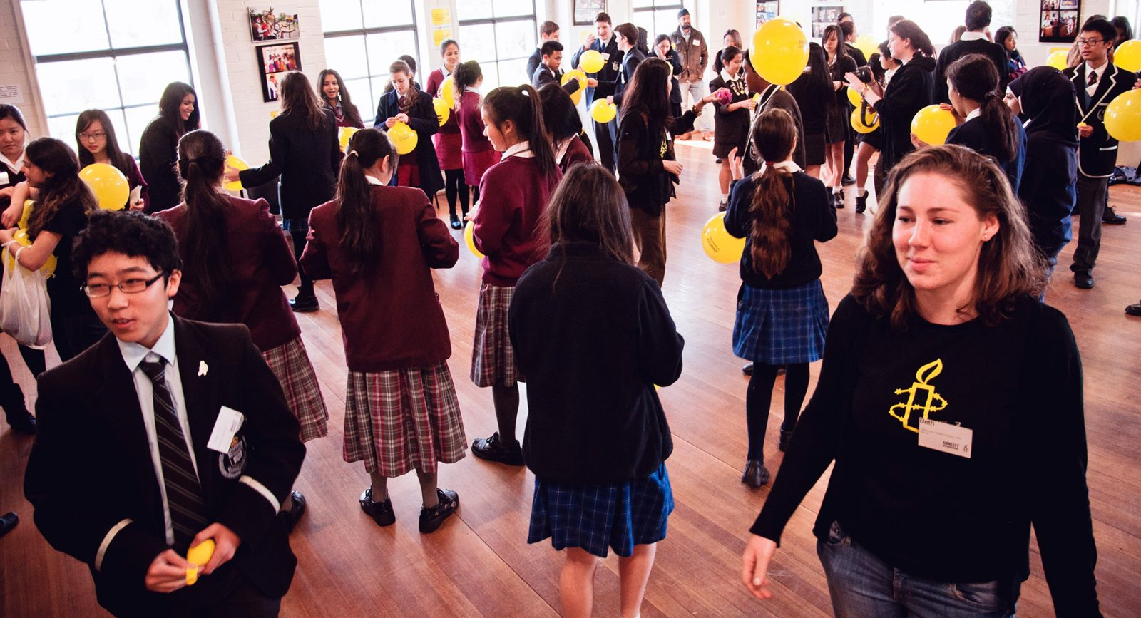 Children and activists at an Amnesty NSW schools conference