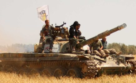 Rebel forces from Jaysh al-Islam in the northwestern outskirts of Aleppo
