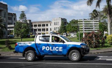Police car on the road. Suva, Fiji.