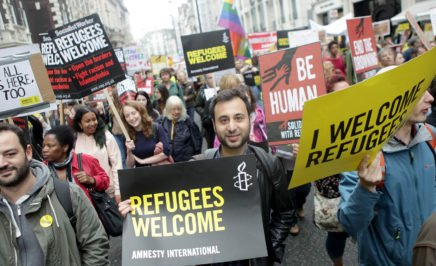 Refugee Welcome March in London, September 2016. © Marie-Anne Ventoura/Amnesty International