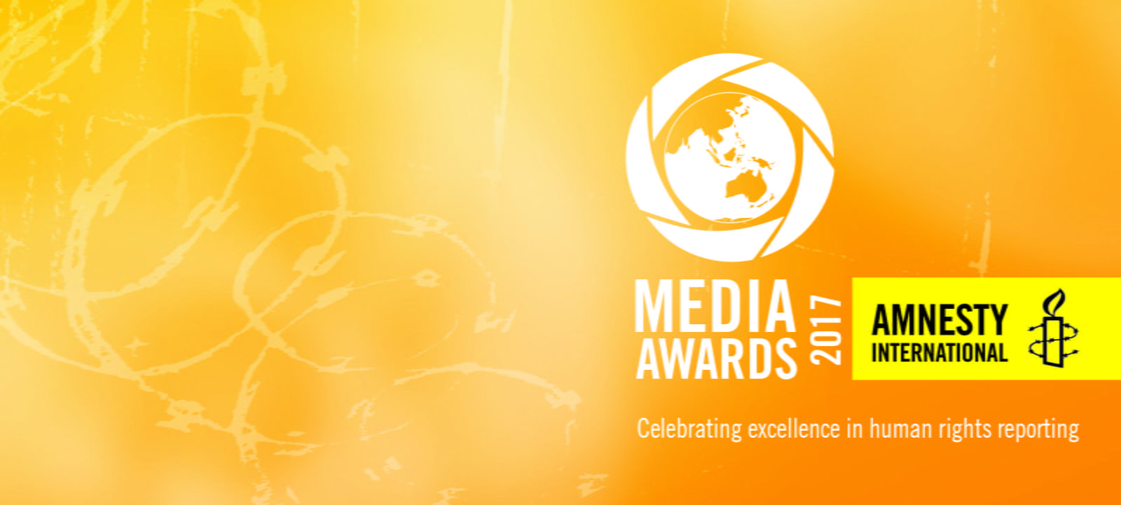 Amnesty Media Awards 2017 logo on an orange background with the words 'Media Awards 2017: Celebrating excellence in human rights reporting