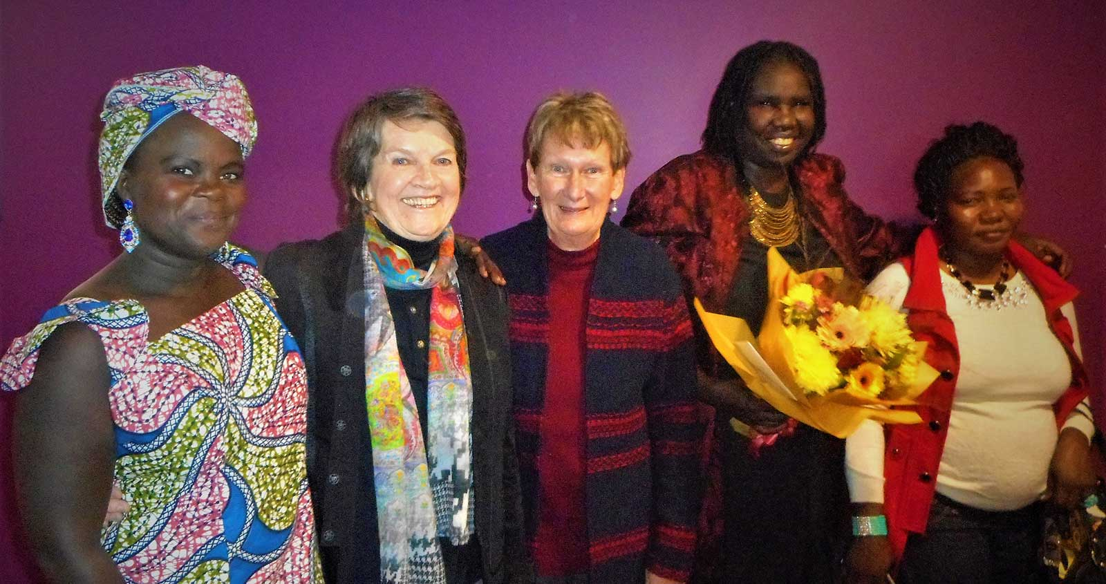 Constance (star of the film 'Constance on the Edge') (left) with memebers of the Wagga Wagga group (middle) and Contances' family members far right