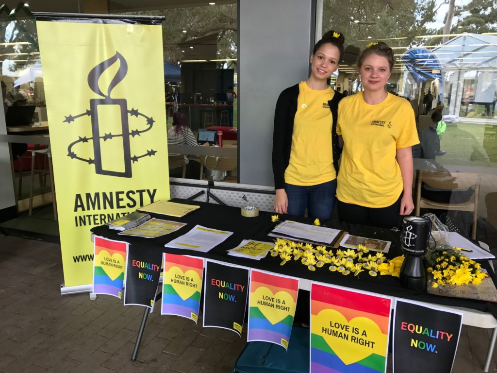 "Murdoch University campus group running a ""Say YES to Love"" stall."