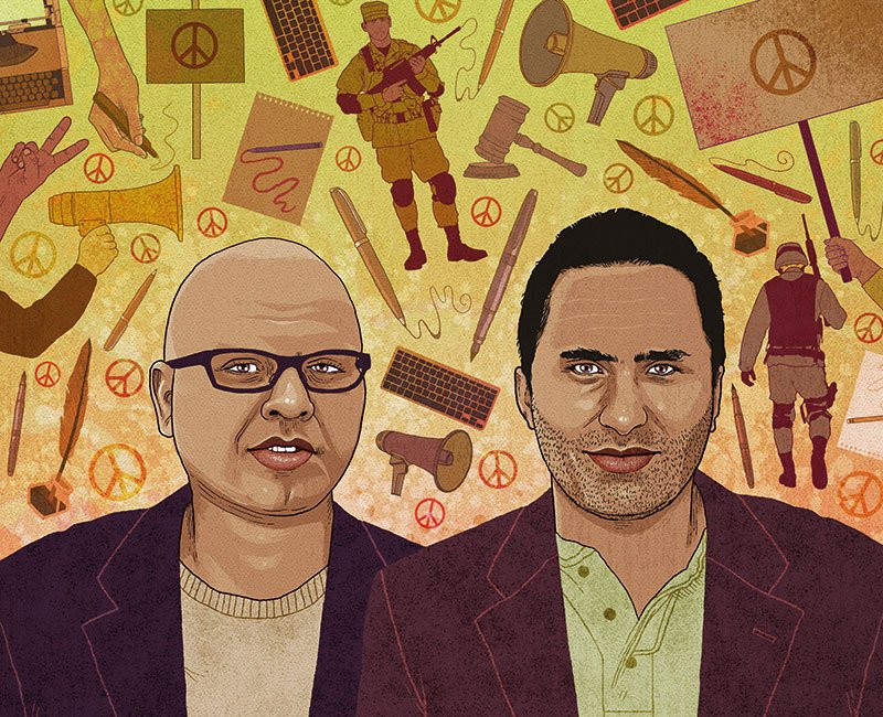 An illustration showing two men standing side-by-side and looking outwards. The two men in the illustration are wearing various shades of brown and a backdrop of Israel-related graffiti is behind them.