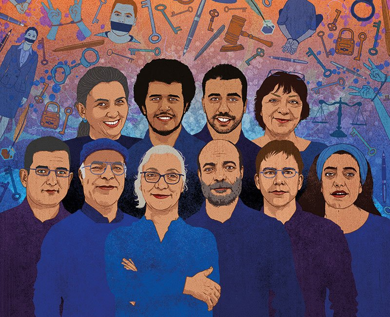 An illustration showing four women and six men standing in a group and looking outwards. The people in the illustration are wearing various shades of blue and a backdrop of Istanbul-related graffiti is behind them.