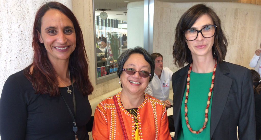 Left to right: Tammy Solonec (Amnesty Indigenous Rights Manager), Victoria Tauli Corpus (UN Special Rapporteur on the Rights of Indigenous Peoples), and Karly Warner (Executive Officer of NATSILS).