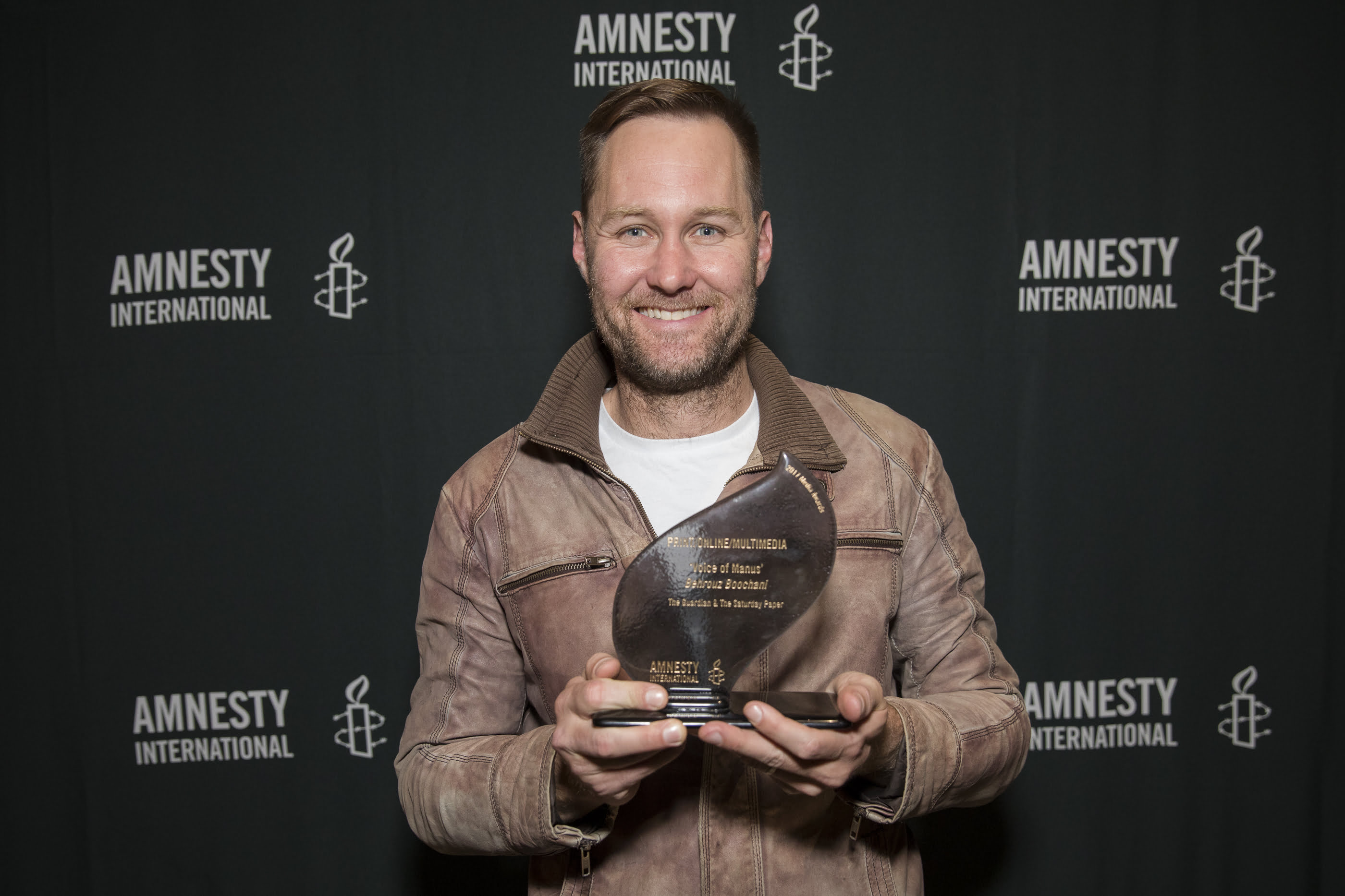 Pete Doherty collects a 2017 Amnesty International Media Award on behalf of Behrouz Boochani. © Joseph Mayers Photography