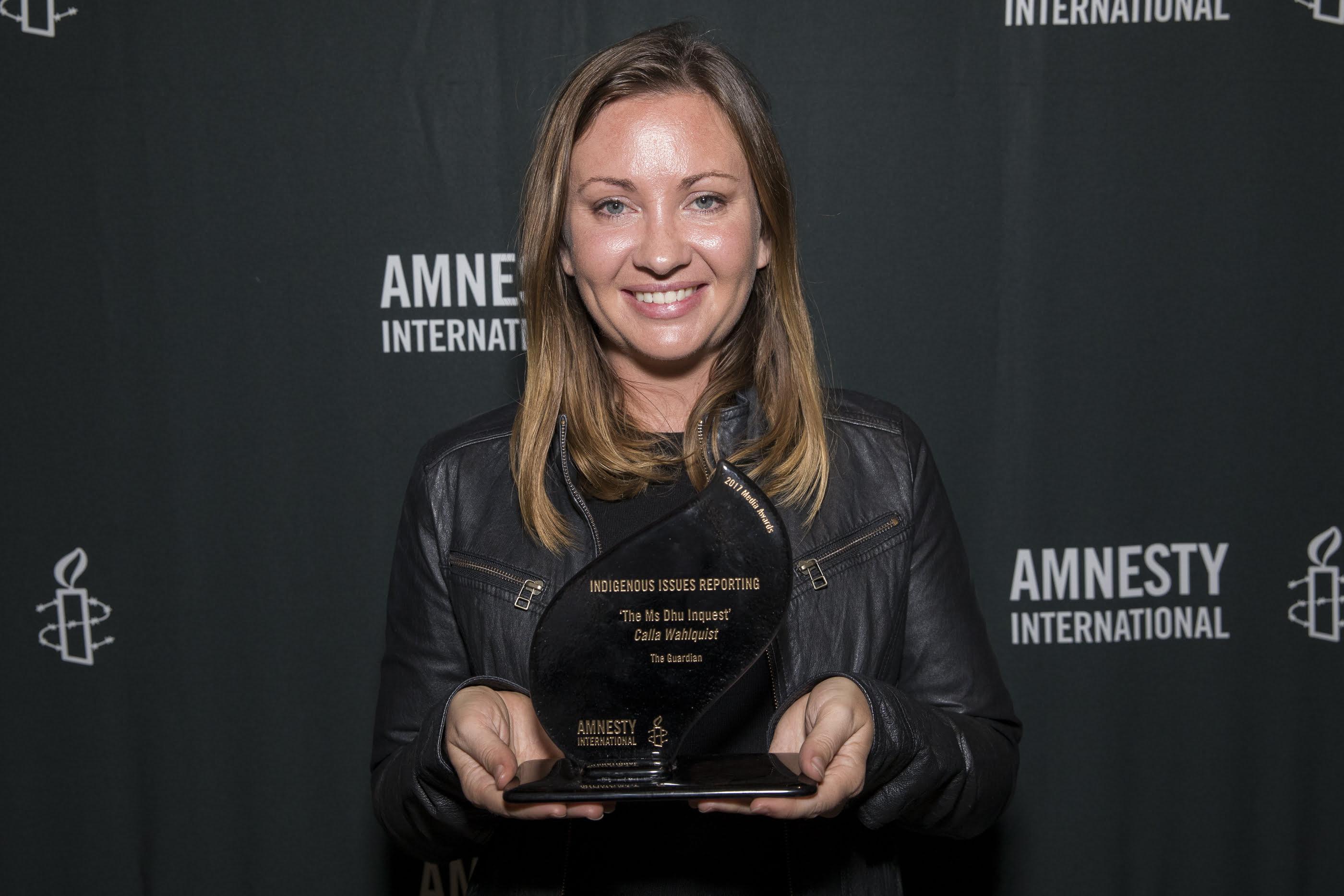 Helen Davison collects a 2017 Amnesty International Media Award on behalf of Calla Wahlquist. © Joseph Mayers Photography