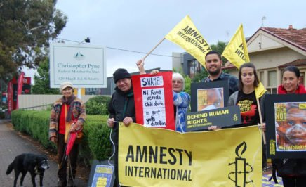 Amnesty activists at MP Christopher Pyne's office in Adelaide. © Private