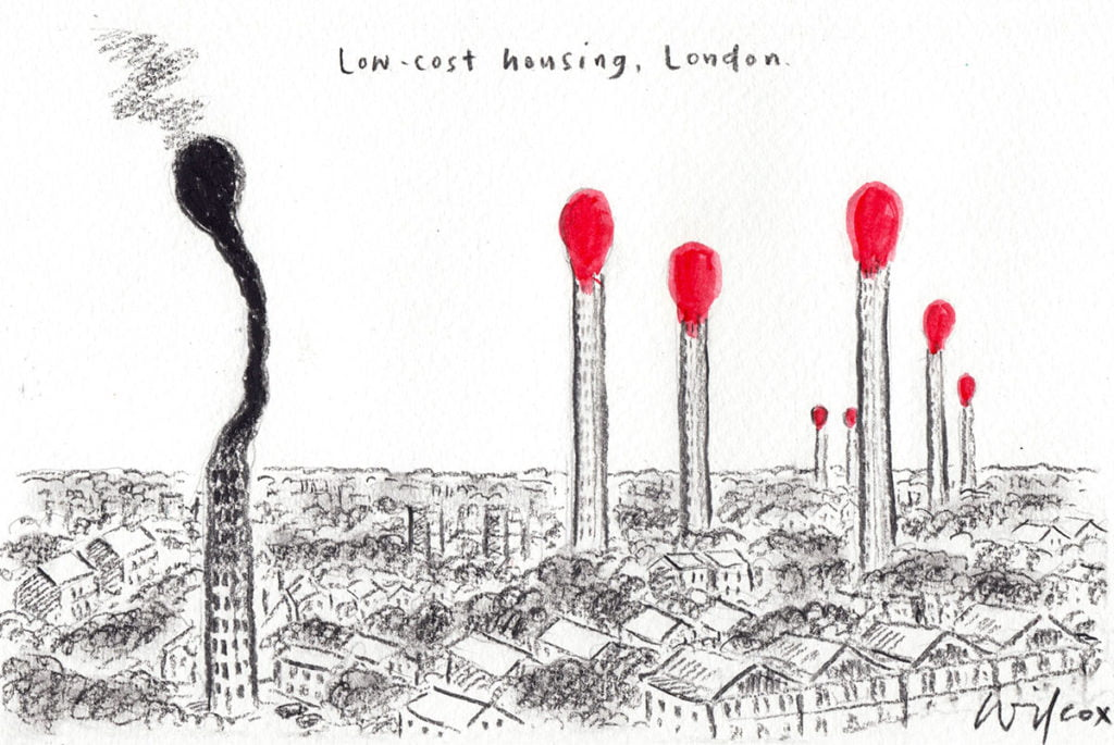 Cartoon showing the London skyline. In the foreground a giant used matchstick in the shape of apartment block Grenfell Tower smoulders, In the background there are seven other apartment buildings designed to look like unlit matchsticks.