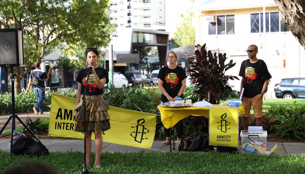 Amnesty activists speaking at Indigenous rights event in Darwin