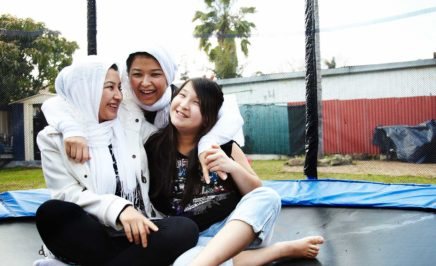 Madhi, Najeeba, Raihana and Najeeba fled persecution in Afghanistan and sought asylum in Australia. © Hamish Gregory