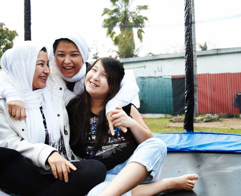 Madhi, Najeeba, Raihana and Najeeba fled persecution in Afghanistan and sought asylum in Australia. © Hamish Gregory