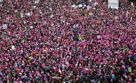 View of the Women's March on Washington from the roof of the Voice of America building - January 21, 2017